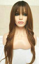 Light Auburn Brown Human Hair Wig Lace Front Wig Long Bangs