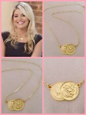 Pretty Celebrity Style Double/2/Two Gold Tone Half Penny Coin Necklace 18 Inch
