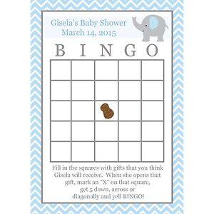 24 Baby Shower Bingo Game Cards - Elephant Baby Shower - BLUE