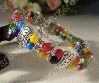 chinese jewelry Tibet Tibetan silver Mixed color beads bracelet bangle G20S2
