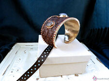 SARA BLAINE Sable Cuff ~ Brown Faux Leather Stormy Gray Agate
