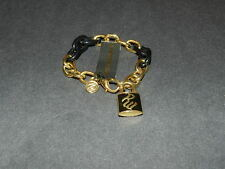 ROCAWEAR black & gold tone link chain bracelet with RW on lock black enamel NEW