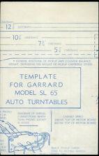 Rare Original Unused Factory Garrard Sl-65 Auto Turntable Mounting Template