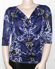 NEW Style & Co. Plus 0X Cowl Neck 3/4 Dolman Sleeve Printed Top Multi-color
