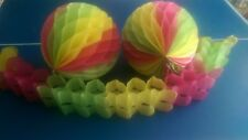 3 Party Decorations - 2 x 25cm Paper Honeycomb Balls & 10' Garland, Pink/Yellow