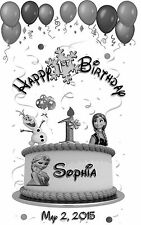 10 Personalized Frozen Happy Birthday Luminaries Table Centerpieces Party Decor