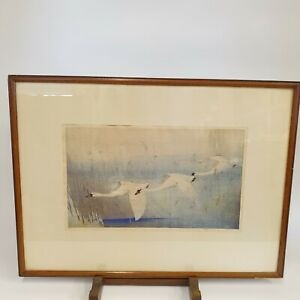Allen William Seaby Signed Colour Woodblock Print Swans In Flight