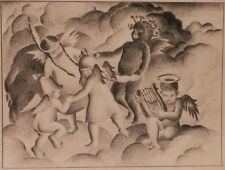 OLD Antique WPA style and era Fine Art DRAWING PAINTING Sketch Original artwork