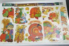 Lot 4 vintage pumpkin Window Decoration Static Cling film Happy Thanksgiving