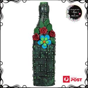 Decorative Green  Antique wine Bottle Vase Art, handmade bottle art vase