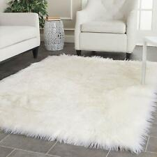 Shag Carpet Rectangle - Premium Faux Fur - White Sheepskin Area Rug New 4'x6'