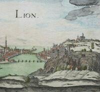 VUE de LYON Gravure XVIIe Colorée Main LION Rhône Christophe TASSIN 1634