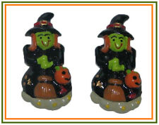 2 PC HALLOWEEN WITCHY WITCH W BROOM FLATBACK FLAT BACK RESINS