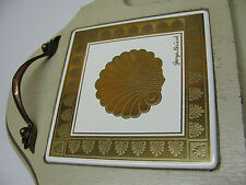 Vtg Georges Briard Cheese Gold Seashell Drink Serving Trivet Tray Handle Regency
