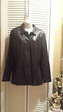 Alfani Black Lamb Leather Jacket Coat Blazer Size L