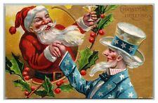 Vintage Antique Patriotic Christmas~Santa Claus & Uncle Sam~Cheers Postcard-k657
