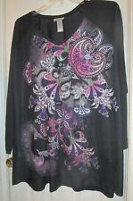 Black w Pink and Purple Paisley Blouse Size 3X 26 28W Catherines T Shirt Top NWT