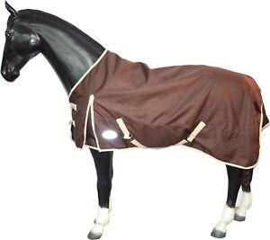 Lightweight No Fill Turnout Horse Rug 1200D Standard Neck Waterproof Brown