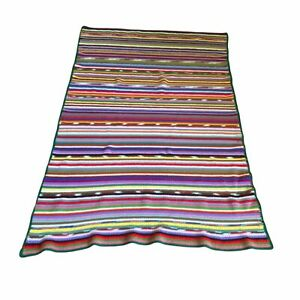 Vintage Striped Afghan Knitted Crocheted Green Boarder Multi Color 72x49 Boho