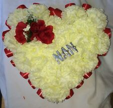 NAN Faux Silk Heart Wreath With Red Roses And Red Ribbon Accents