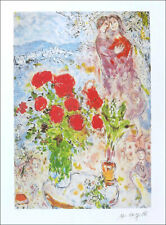Marc CHAGALL Red Bouquet & Lovers Facsimile Signed Art Print