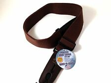 lock-IT Guitar strap Brown Cotton Patented Locking Technology (strap lock)