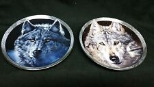 "Bradford Exchange Mystic Spirit 8"" Wolf Plates 'Moon Shadows' 'Midnight Snow'"