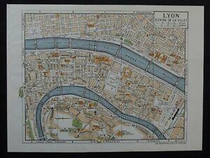 Vintage Map: Central Lyon, France, by John Bartholomew, City Map, 1966, Colour
