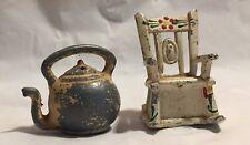 Vintage Cast Tea Kettle Rocking Chair Salt Shakers 2 1/4� B1