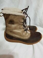 Sorel Womens Chugalug Brown Leather Winter Snow Boots Shoes Size 11