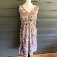 BODEN Pink Floral Sleeveless Cotton Dress Size US 10 Women's Sundress V-neck