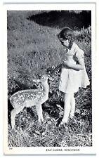 Mid-1900s Girl Bottle Feeding a Deer Fawn, Eau Claire, WI Postcard
