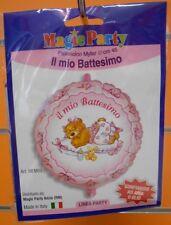 PALLONCINO TONDO IL MIO BATTESIMO ORSETTO ROSA BIMBA 45cm diam MYLAR FESTA PARTY