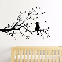 Tree Branch Cat Removable Wall Stickers Vinyl Wall Decals Kids Room Home Decor