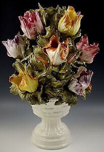 VINTAGE CAPODIMONTE LAMP BASE ITALY RED YELLOW TULIPS FLOWERS TOPIARY WITH URN