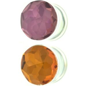 PAIR - CLEAR PYREX GLASS FACETED DOME EAR PLUGS DOUBLE FLARED GAUGES 6mm-16mm