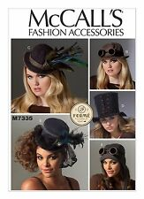 M7335 Sewing Pattern Hats Steampunk Aviator Burlesque Cabaret All Sizes