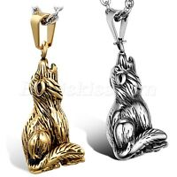 Men's Vintage Stainless Steel Wolfhound Wolf Dog Cool Pendant Necklace Chain 22""