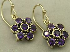 E116 Genuine 9ct Yellow Gold NATURAL Deep Purple Amethyst Blossom Earrings