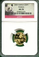 CHINA  PANDA 2007  NGC MS 70  1/10 OZ  GOLD  50 YUAN