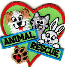 """ANIMAL RESCUE"" Dogs Pets Cats Animals Iron On Embroidered Patch"