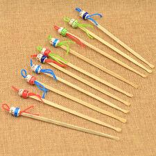 10PCS Handmade Bamboo Earpick KAWAI Doll Charm Ear Wax Remover Cleaner Tool Set