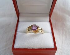 .93 Ct. Amethyst Solitaire & Diamond  14k Gold Ring