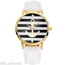 HS Damenuhr Armbanduhr Quarzuhr Analog Anker Streifen Lederband Mode Weiß #1