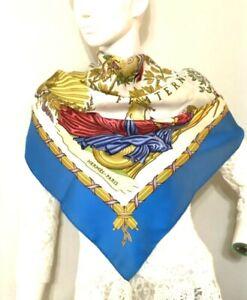 VTG silk scarf HERMES'1789 Liberte Egalite Fraternite'Joachim Metz Blue #2194