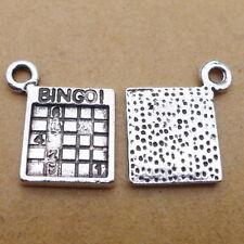 10pcs Charms Bingo Games Words Tibetan Silver Beads Pendant DIY Bracelet 15*17mm