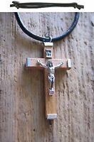 Jesus Kette Kreuz Halskette Holz Kreuzkette Lederkette Herrenhalskette Herren