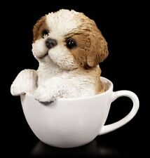Hunde Figur - Shih Tzu Welpe in Tasse - Tier Baby Süß Geschenk lustig Fun