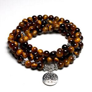 Bracelet Mala tibétain 108 perles en Oeil de Tigre symbole Arbre de Vie