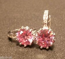 FH6 Round pink & white sapphires WHITE GOLD gf French hoop earrings BOXD Plum UK